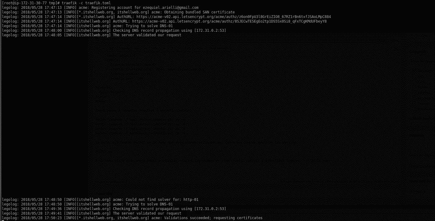 Træfik running with demon and Let's Encrypt wildcard SSL/TLS